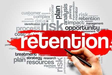 strategy decisions: Retention word cloud, business concept Stock Photo
