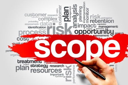 scope: SCOPE word cloud, business concept Stock Photo