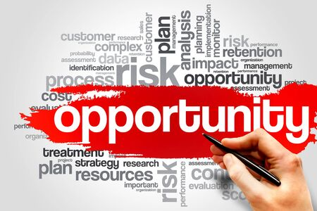 growth opportunity: Opportunity and success word cloud, business concept Stock Photo