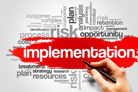 implementation: Implementation word cloud, business concept Stock Photo