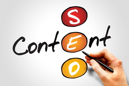 website plan: Content SEO (Search Engine Optimization) acronym, business concept