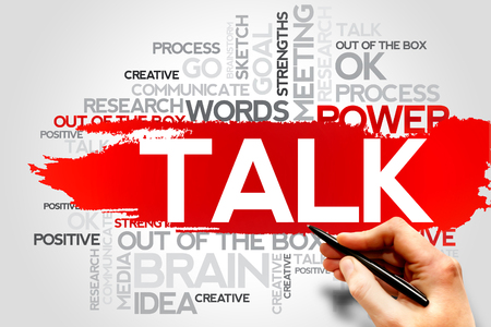 TALK word cloud, business concept Stock Photo