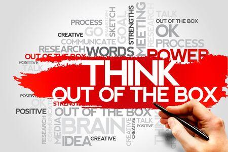 out think: Piense fuera de la palabra CAJA nube, concepto de negocio Foto de archivo