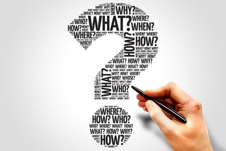 questionable: Question mark, Question word cloud, business concept