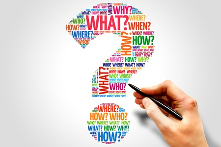 an answer: Question mark, Question word cloud, business concept