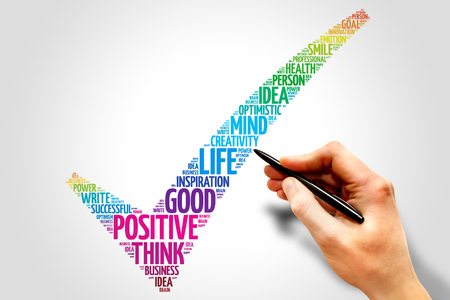 Positive thinking check mark word cloud, business concept Stock Photo