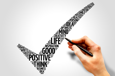 creative design: Positive thinking check mark word cloud, business concept Stock Photo