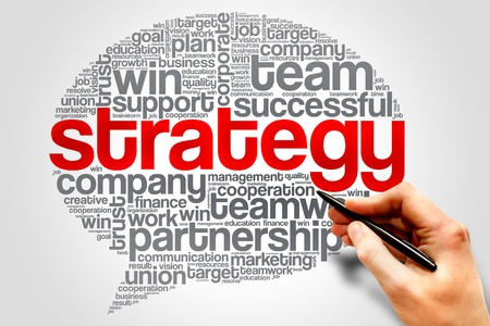 relationsip: Strategy Think Bubble word cloud, business concept