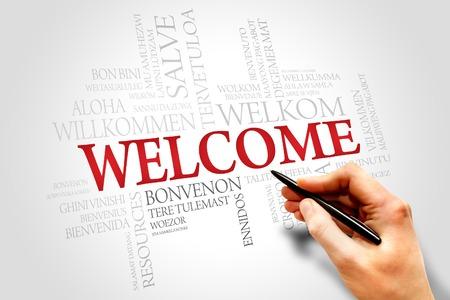 the welcome: Bienvenido en diferentes idiomas nube de palabras, el concepto de negocio