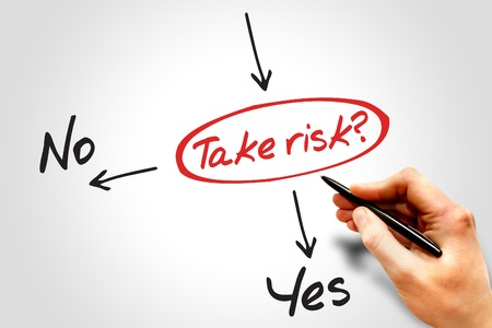 to risk: Take the RISK or not decide diagram business concept