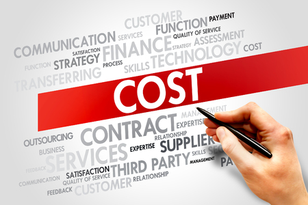 time deficit: Cost related items words cloud, business concept