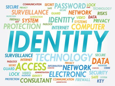 IDENTITY word cloud, security concept Vector