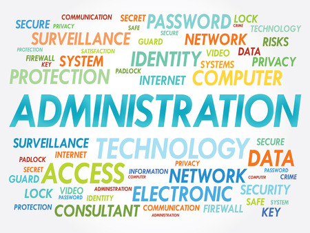 vulnerabilities: ADMINISTRATION word cloud, security concept Illustration