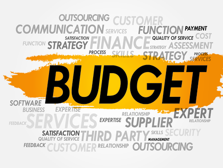 lending: Word cloud of BUDGET related items, presentation background Illustration