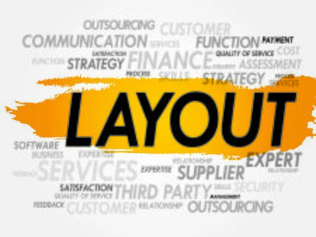marketer: Word cloud of LAYOUT related items, presentation background