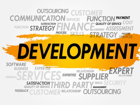 asp: Word cloud of DEVELOPMENT related items, presentation Illustration