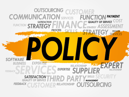 Word cloud of POLICY related items, presentation background Vector