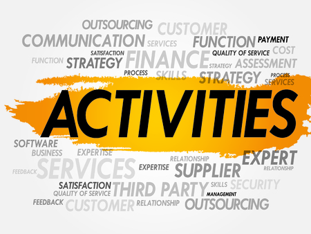 interactions: Word cloud of ACTIVITIES related items, presentation background
