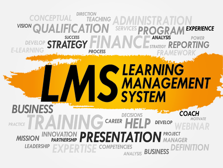 Word cloud of Learning Management System (LMS) related tags, business concept Vector