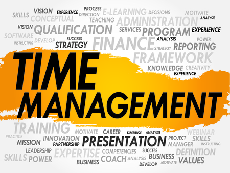 scheduling: Word cloud of Time Management related items, business concept Illustration