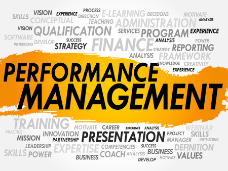 measured: Word cloud of Performance Management related items, business concept Illustration