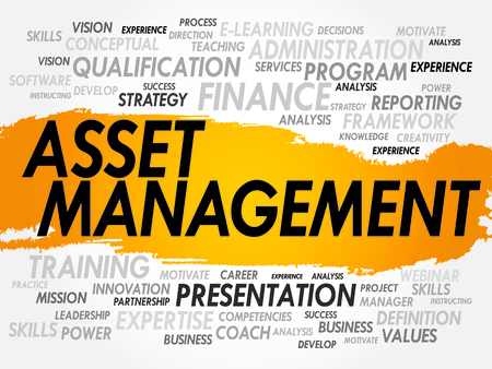 Word cloud van Asset Management gerelateerde items, business concept Stock Illustratie