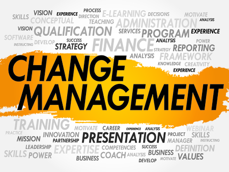 adapting: Word cloud of Change Management related items, business concept