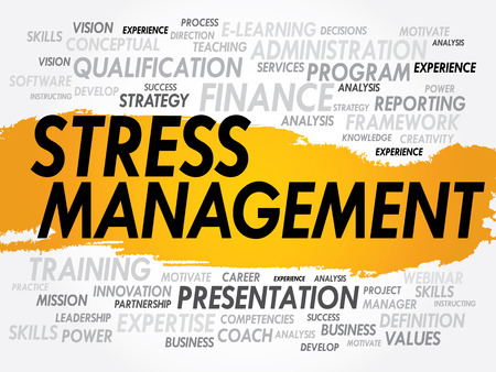 potentially: Word cloud of Stress Management related items, business concept Illustration