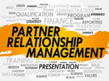 relationship management: Word cloud of Partner Relationship Management related items, business concept Illustration