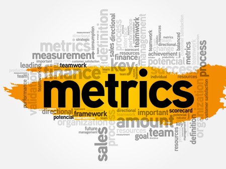 metrics: Word cloud of Metrics related items, business concept