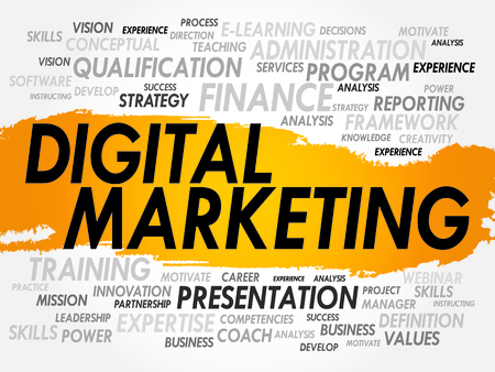 product design: Word cloud of Digital Marketing related items, business concept
