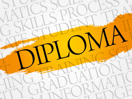 ability to speak: DIPLOMA word cloud, education business concept Illustration