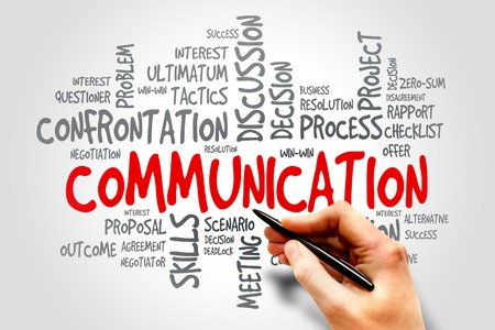 Communication related items words cloud, business concept