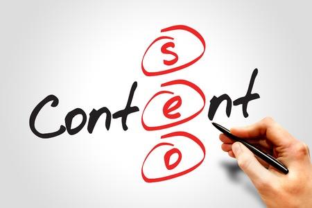 seo optimization: Content SEO (Search Engine Optimization) acronym, business concept