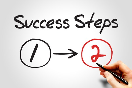 2 Success Steps, business concept photo
