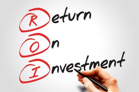 Return on Investment (ROI) Akronym Geschäftskonzept Standard-Bild