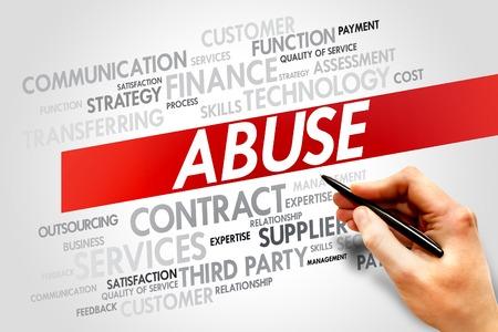 delincuencia: Abuso nube de la palabra, concepto de negocio Foto de archivo