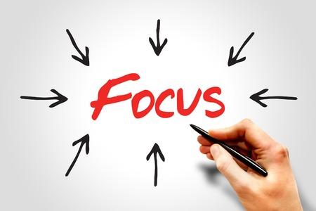 distinctness: Focus arrows directions, business concept Stock Photo