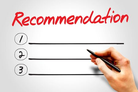 recommendation: Recommendation blank list, business concept