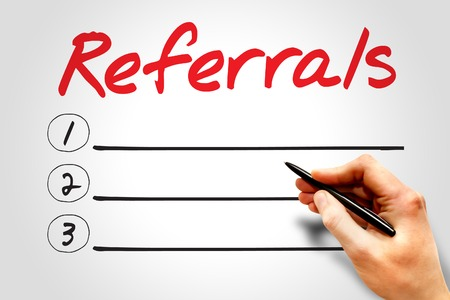 referral: Referrals blank list, business concept