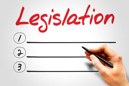 impartiality: Legislation blank list, business concept