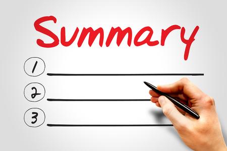 SUMMARY blank list, business concept