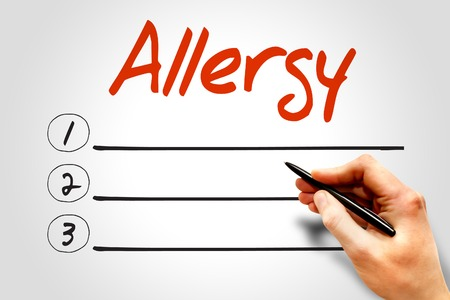 hypersensitivity: ALLERGY blank list concept Stock Photo
