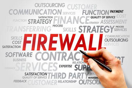 trojanhorse: FIREWALL word cloud, business concept Stock Photo