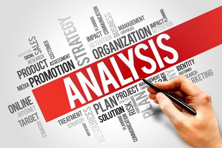 ANALYSIS word cloud, business concept photo