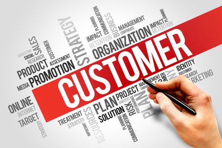 customer facing: CUSTOMER word cloud, business concept Stock Photo