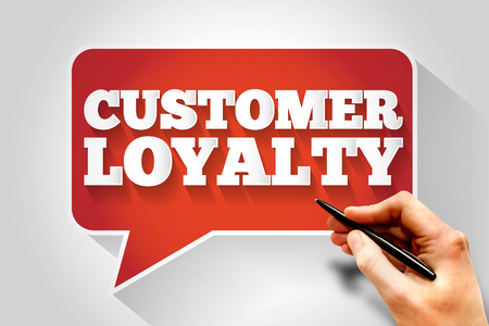 satisfied customer: Customer Loyalty message bubble, business concept Stock Photo