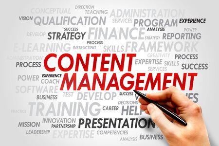 Content Management word cloud, business concept photo