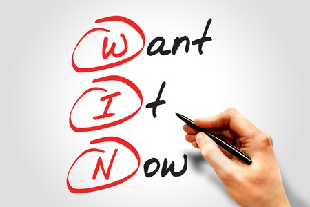 Want It Now (WIN), business concept acronym Stock Photo