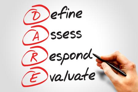 osare: Definire Valutare Rispondere Evaluate (DARE), il concetto di business acronimo Archivio Fotografico